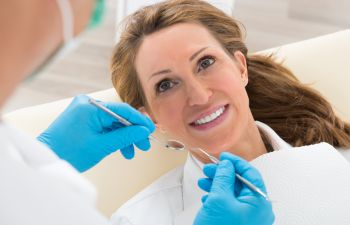 woman during the dentist checkup